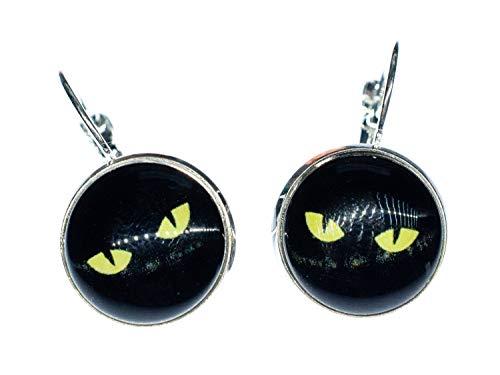Miniblings Pendientes de ojo de gato, hechos a mano, ojo de gato, Halloween, color negro y amarillo, pendientes plateados