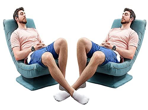 Sala de Estar Dormitorio sillón Plegable,Piso Giratorio de 360 °Silla de Juego Respaldo Ajustable de 3 Posiciones sillón de sofá-Adecuado para meditación Juego descansoVer televisión/Blue/2 sillas