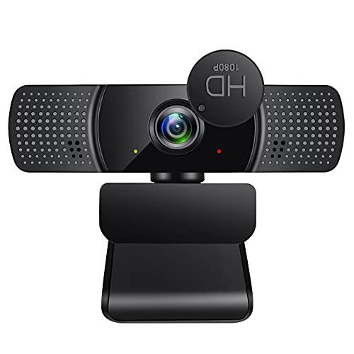 Webcam mit Mikrofon, 1080P Kamera mit Webcam Abdeckung, USB Plug & Play für Desktop und Laptop Video Konferenzen, Online Unterricht und Live Streaming, Kompatibel mit Windows, Linux und MacOS