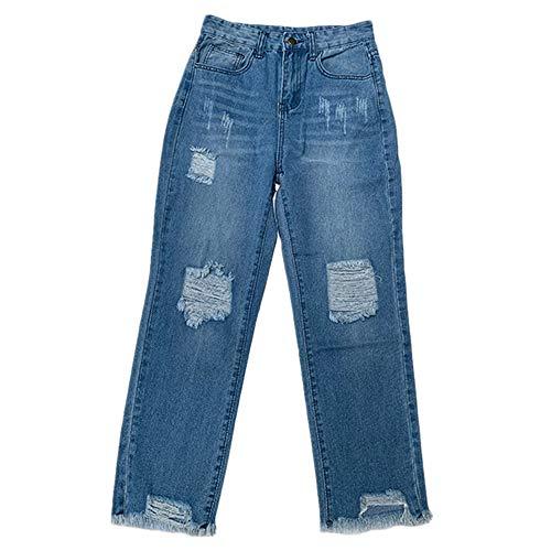 N\P Pantalones vaqueros desgastados lavados para hacer pantalones vaqueros blancos desgastados