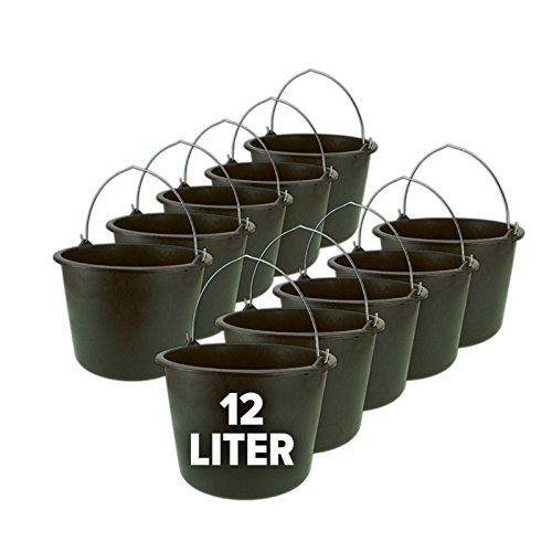 Eimer, Baueimer, Putzeimer, Mörteleimer mit Henkel 10er Set - 12 oder 20 Liter, Größe:12 Liter