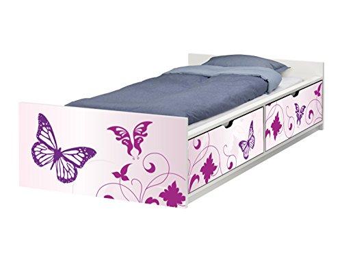 Stikkipix Butterfly Möbelfolie | passend zum IKEA Kinderbett FLAXA | passgenaue Schmetterling Klebe-Folie für Schubkästen und Stirnseite | FLX08 | Möbel Nicht Inklusive