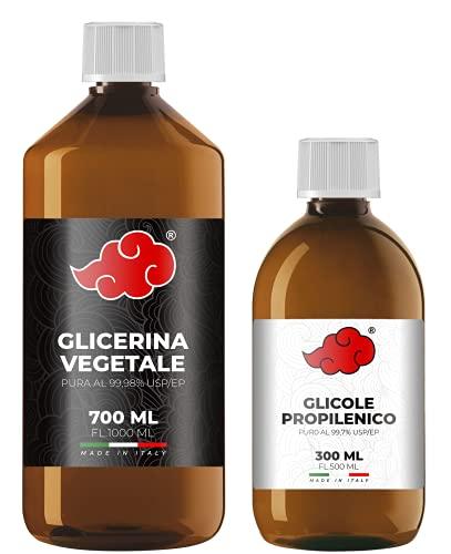 NINDO Kit 1 Litro 70VG/30PG | Glicerina Vegetale (99,98%) + Glicole Propilenico (99,7%) | 100% Made in Italy | Privo di OGM e Allergeni | Grado Farmaceutico Certificato