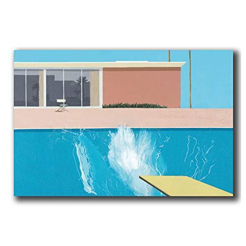 David Hockney A Bigger Splash Artist Poster Print Canvas Painting Home Sala de estar dormitorio Decoración -60x80cm Sin marco