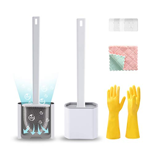 Hisoutenu 2Pack Silicone Toilet Brushes with Holder for Bathroom Deep CleaningQuick Drying Wall Mounted Set Soft Bristled cleaner,NoSlip Long Plastic Handle with household gloves amp Cleaning Cloth