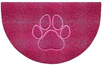 Nicoman Embossed Halfmoon Half Circle Door Mat Dirt-Trapper Jet-Washable Doormat 70x44cm (Pink, PAW Shape) - Use Indoor or...