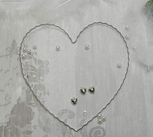 Unbekannt 10 x Draht - Herz Herzen Hochzeit Rohling für Girlande und Blüten Autoschmuck 20cm