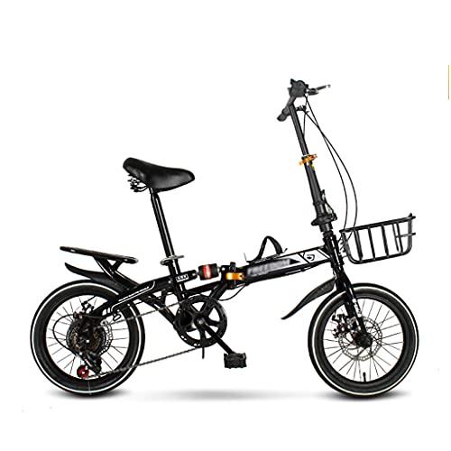 gxj Bicicleta Plegable Frenos de Disco Doble 7 velocidades Bicicleta Ciudad cercanías para Hombres Estudiante Adolescente Marco Ligero Bici Plegable para Deportes al Aire Libre, Negro(Size:16 Inch)