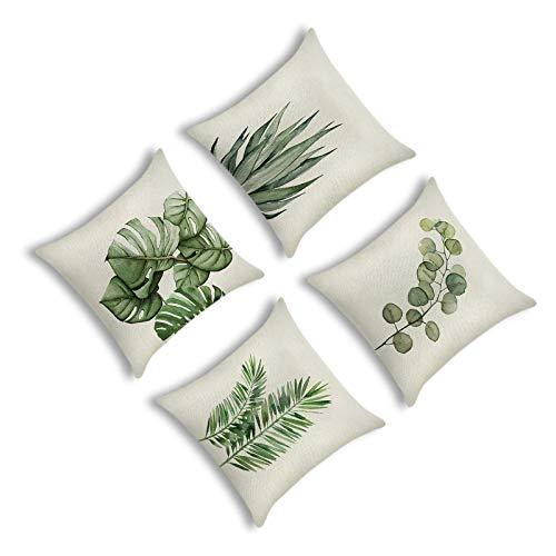 YuuHeeER Juego de 4 fundas de cojín decorativas de lino y algodón, diseño de hojas