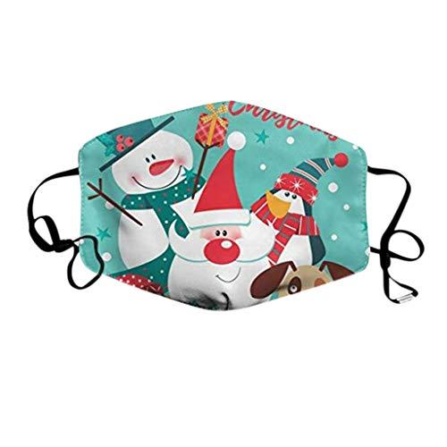 PPangUDing Weihnachten Mundschutz mit Motiv Waschbar Wiederverwendbar Baumwolle Atmungsaktive Staubdicht Bandana Halstuch Multifunktionstuch Schlauchtuch für Herren und Damen