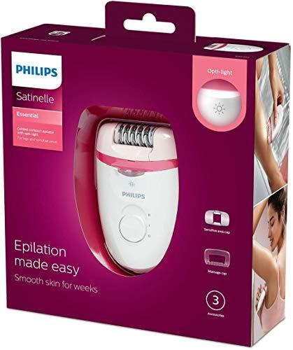 Philips Kompakter Kabel BRE255/00 Epilierer, Polycarbonate, Pink, Weiß