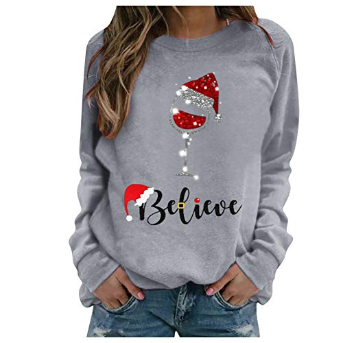 Women Christmas Sweatshirt Red Wine Glass Casual Pullover Sequin Cotton Long Sleeve Top
