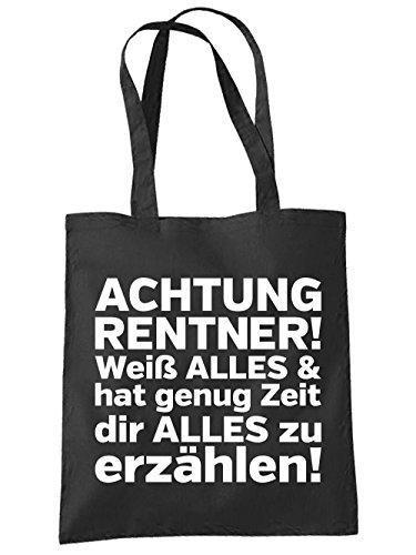 clothinx Einkaufstasche Achtung Rentner ! Schwarz