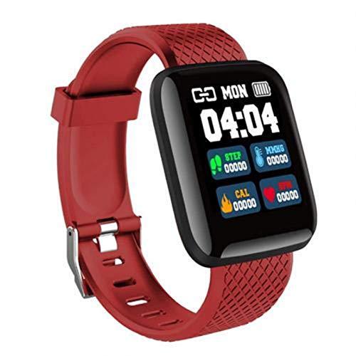 XUEMEI Pantalla De Color Grande a Prueba De Agua Monitor De Ritmo Cardíaco Pedómetro Fitness USB Carga Directa Deporte Pulsera Inteligente para iOS Android (Color : Red)