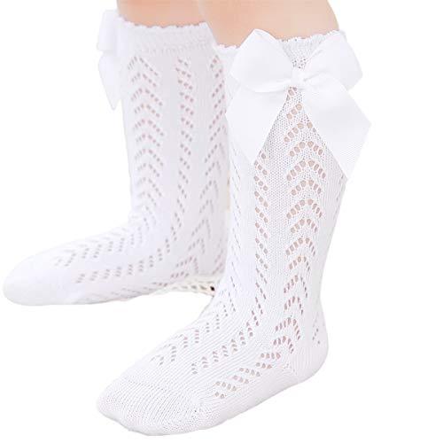 WangsCanis Calcetines Largos de Niña Medias de Encaje para Bebé Recién Nacida 0-3 Años Calcetines de Algodón de Color Sólido con Lazo y Estilo Princesa Lindo (Blanco, 2-3 Años)