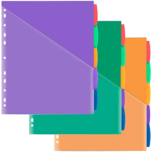 Plastic 5-Tab Dividers with Front Pocket, Plastic Pocket Dividers for 3-Ring Binders, Multi-Color Tabs Dividers, Pack of 3 Sets