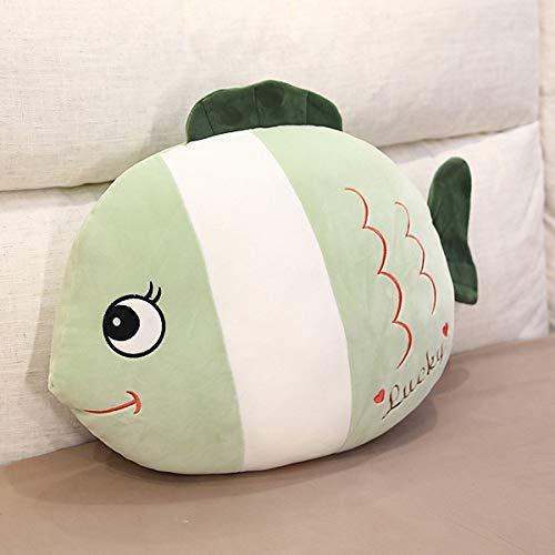 Almohada de peluche con diseño de ballena y unicornio, de peluche, para decoración del hogar, regalo para niños (verde pescado)