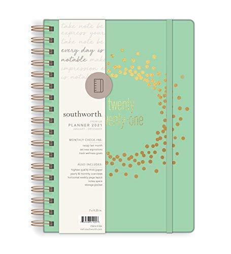 Southworth Planejador anual 2021 (janeiro, 2021-dezembro, 2021), planejador mensal e anual, 17,78 cm x 23,5 cm, cobre menta, papel premium 12,7 kg/105 g/m², fio duplo, 82 folhas/164 páginas (91905)