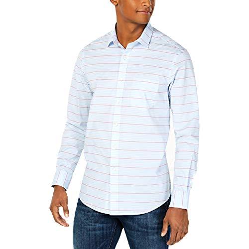 Club Room Mens Preston Striped Performance Button-Down Shirt Blue S