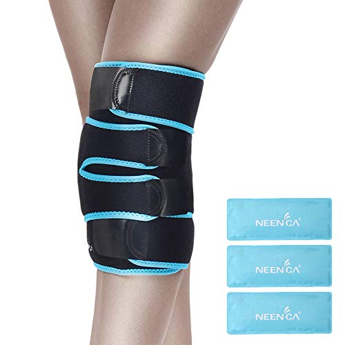 NEENCA Knee Brace with Ice Pack Wrap,Medical Grade Knee Support with 3 Reusable Cold/Hot Gel Pack,Injury and Pain Relief for Meniscus Tear,Joint Pain,Injury Recovery,ACL,Knee Surgery,Sprain & Swelling