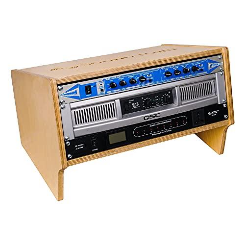 Sound Town Estante de equipo de estudio de torreta de escritorio con madera contrachapada de abedul báltico (SDRK-4SL)