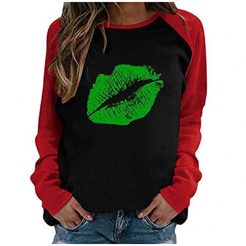 YANFANG Camiseta Casual con Cuello Redondo y Manga Larga con Estampado de Blusa Superior para Mujer,Túnica Casual Elegante Tops Rayas T-Shirt