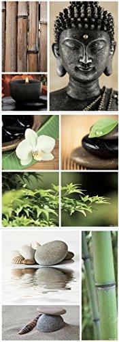 Plage Deko Wandaufkleber - Bambus Zen - Buddha, Vinyl, Colorful, 68 x 0.1 x 24 cm