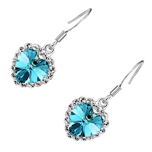 UPCO Jewellery Pendientes tipo gota con una piedra azul marino en forma de corazón rodeada por cristales, bañados en plata esterlina