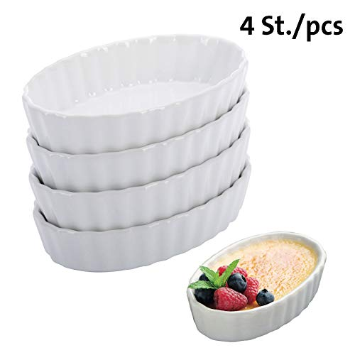 Westmark 4 Schälchen für Crème Brulée, Porzellan, Oval, 13,5 x 8,1 x 2,7 cm, Weiß, 23302260