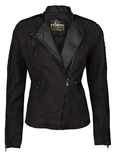 Trisens Damen Lederimitat Jacke Biker KURZ Motorrad Jacke Kunstleder SCHWARZ Blaser, Größe:L, Modell/Farbe:63-Schwarz
