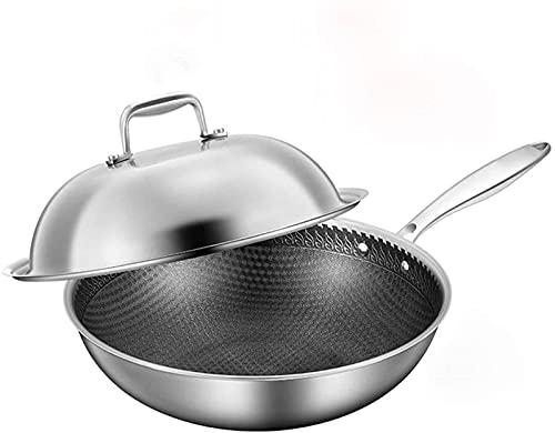 Sartenes para cocinar Olla de acero inoxidable para cocinar en casa sartén antiadherente wok - se aplica gas de cocina de inducción - cubierta de vidrio (Color: Cubierta de acero con orejas laterales,