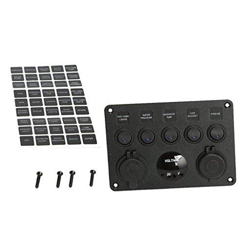 Toygogo Voltímetro Del Cargador de Energía Del Enchufe USB Dual Del Panel Del Interruptor Basculante Del Barco de 5 Gang LED
