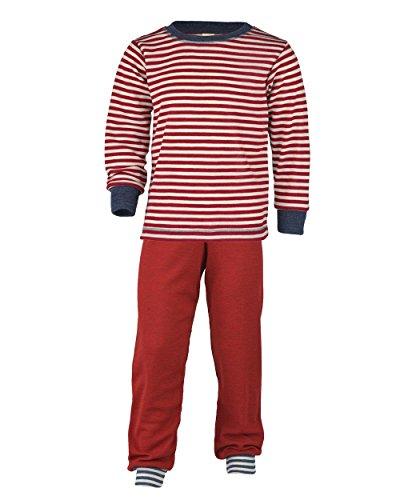 Engel Natur, Schlafanzug für Mädchen und Jungen, 100% Wolle (kbT) (140, Rot Ringel/Rot)