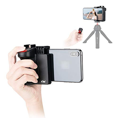 Cell Phone Tripod Mount with Detachable Wireless Remote Control and Cold Shoe, Selfie Stick Smart Phone Camera Grip Holder Handle for iPhone Samsung Android Vlog Photo Video Shooting