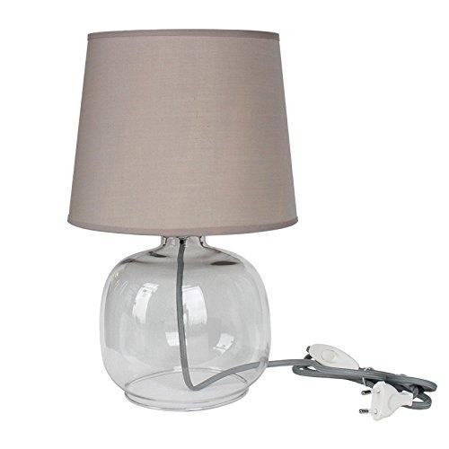 Tischleuchte Wanda Glas 1-flammig Creme Tischlampe E27 mit Stoffschirm Höhe 36cm, max. 60 Watt