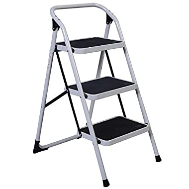 Goplus 3 Step Ladder Folding Heavy Duty Step Stool Anti-slip Platform Sturdy HD Construction, 330lbs Capacity