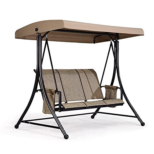 PURPLE LEAF 3-Seat Deluxe Outdoor Patio Porch Swing with Weather Resistant Steel Frame, Adjustable Tilt Canopy, Beige