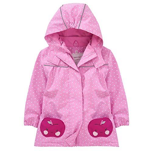 Natashas Chaqueta de entretiempo para niños y niñas, con forro polar, cálida, transpirable, resistente al viento, chaqueta softshell, chubasquero con capucha Rosa. 120 cm
