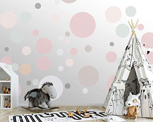 100 wandtattoo Punkte wandsticker Kreise fürs Kinderzimmer - Set Farben, Dots zum Kleben Wandaufkleber Wanddeko - Wandfolie, Kleinkinder, Erstausstattung Rauhfaser Beige - Nougat - Pudergrün - Rosa