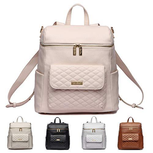 Monaco Diaper Bag Backpack by Luli Bebe - Chic Vegan Leather Diaper Bag Backpack (Pastel Pink)