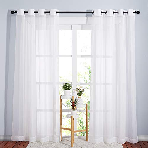 NICETOWN Sheer Window Curtain Panels - Ivory Eyelet Top Solid Voile for Kitchen/Hotel, 2 Pieces, 54 Wide x 84-inch Length