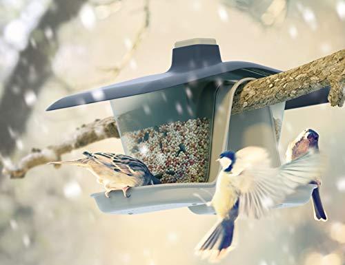 rg-vertrieb Vogelhaus Vogelfutterhaus Kunststoff Futterhaus Futterstelle Futterstation Doppelbehälter 28cm