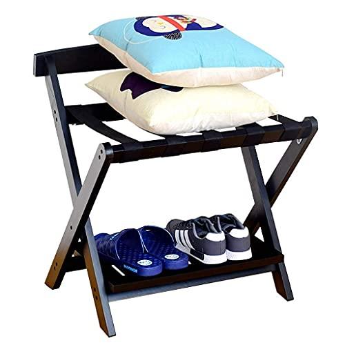 N/Z Inicio Equipo Portaequipajes Portaequipajes Plegable Portaequipajes de Madera Soporte para Equipaje con Estante para Zapatos para el hogar Dormitorio Hotel con Estante Negro