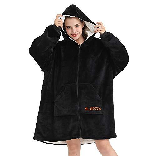 SLEPZON Blanket Hoodie | Oversized Wearable Blanket - Deep Pockets, Comfy Sleeves, Front Zipper - Deluxe Fleece Sweatshirt Blanket - Black