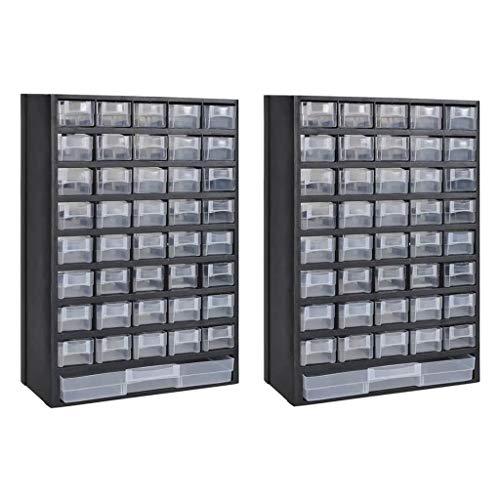 Festnight- 2er Set Kunststoff Sortimentsschrank Sortimentskasten mit 41-F?Cher Kunststoffrahmen 31 x 13,8 x 49cm