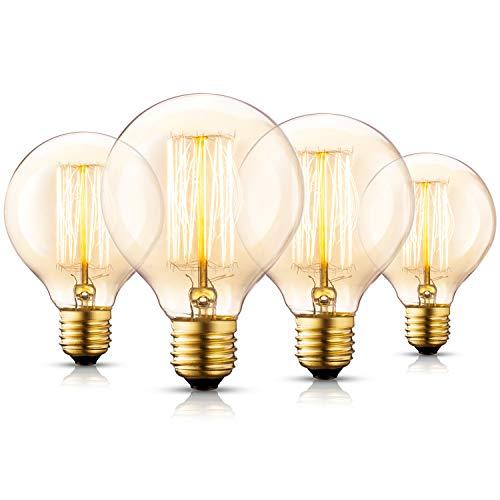 Asgens Vintage Edison G80 Globus Glühfaden Birne - 40W Eichhörnchenkäfig Filament E27 - Industrie Retro altmodische - Klar Warmweiß 2200K - Edison Dekorative Glühlampen Dimmbar, 4er Pack