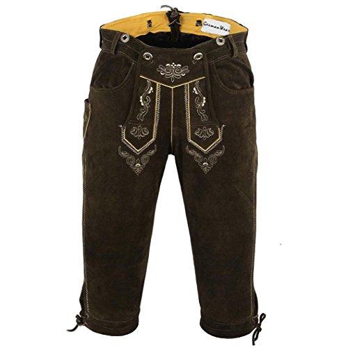 German Wear, Trachten Lederhose Kniebundhose Trachtenhose Hose mit Hosenträger, Größe:50, Farbe:Dunkelbraun