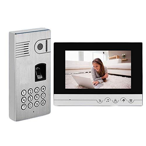 Telefonillo portero Color de vídeo de alta definición de 7 pulgadas de intercomunicación puerta de huellas digitales a prueba de lluvia tarjeta inteligente contraseña de desbloqueo de la visión noctur