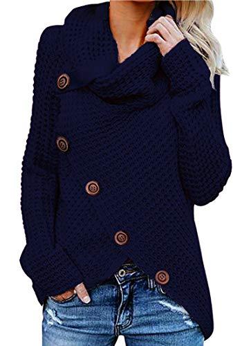 Yidarton Pullover Damen Warm Asymmetrische Strickpullover Rollkragenpullover Solid Wrap Gestrickt Langarmshirts Oberteile Causal (B-Blau, XL)