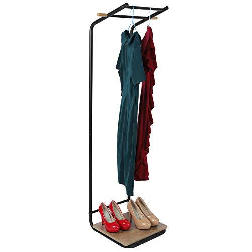 Dioche Perchero de pie con tubo de acero + MDF, perchero para ropa, con estantes, zapatero para entrada, pasillo, salón, 30 x 40 x 150 cm (negro)